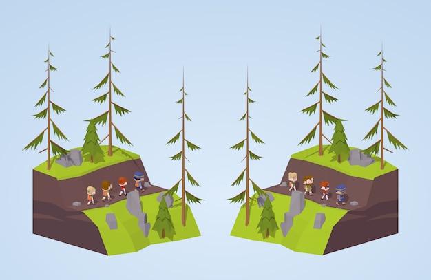 Sentier dans les montagnes Vecteur Premium