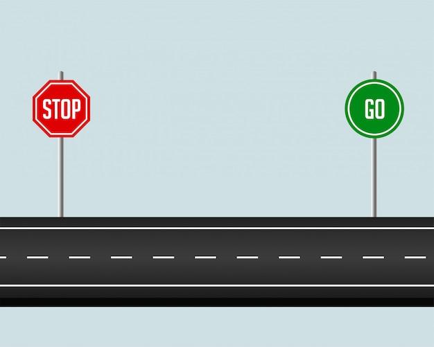 schéma d'une route avec panneau stop à gauche et panneau go à droite.