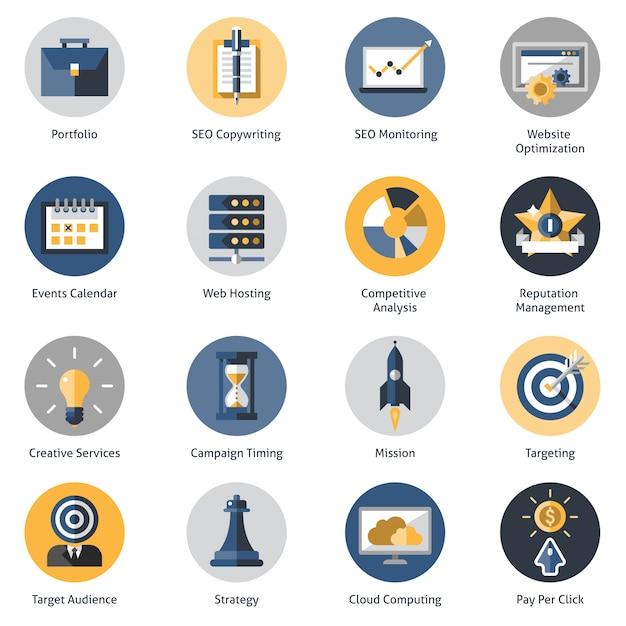 Seo Icons Set Vecteur Premium