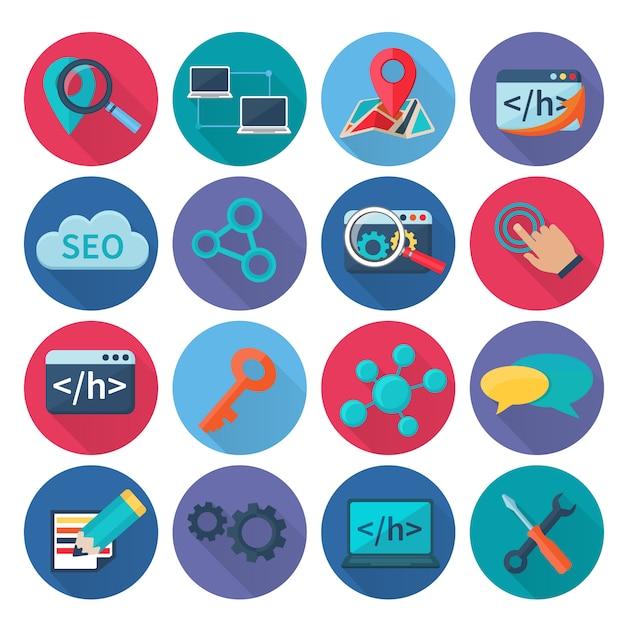 Seo marketing optimisation de la recherche et icônes web analytique plat grandissime la valeur illustration vectorielle isolé Vecteur Premium