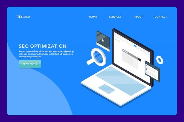 Seo search page de destination Vecteur Premium