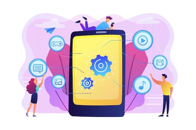 Seo, Site Web, Développement De Logiciels. Optimisation Des Applications, Programmation. Concepteurs Web, Personnages De Dessins Animés De Programmeurs. Concept De Contenu Mobile. Vecteur gratuit