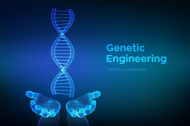 Séquence d'adn dans les mains. structure de molécules d'adn filaire. Vecteur Premium