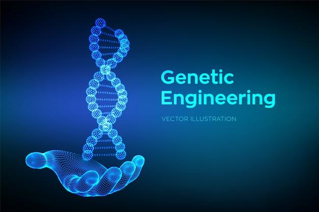Séquence d'adn en main. structure de molécules d'adn filaire. Vecteur Premium
