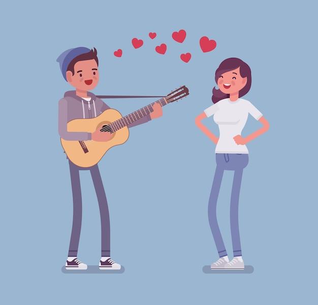 Sérénade Couple Amoureux Vecteur Premium