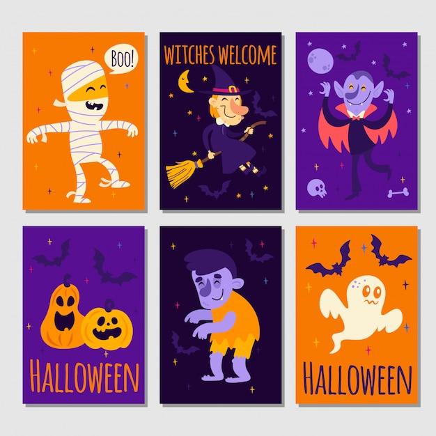 Série D'affiches D'halloween Vecteur Premium