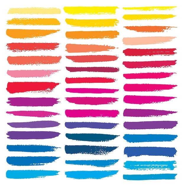 Série de coups de pinceau, coups de pinceau d'encre grunge coloré. Vecteur Premium