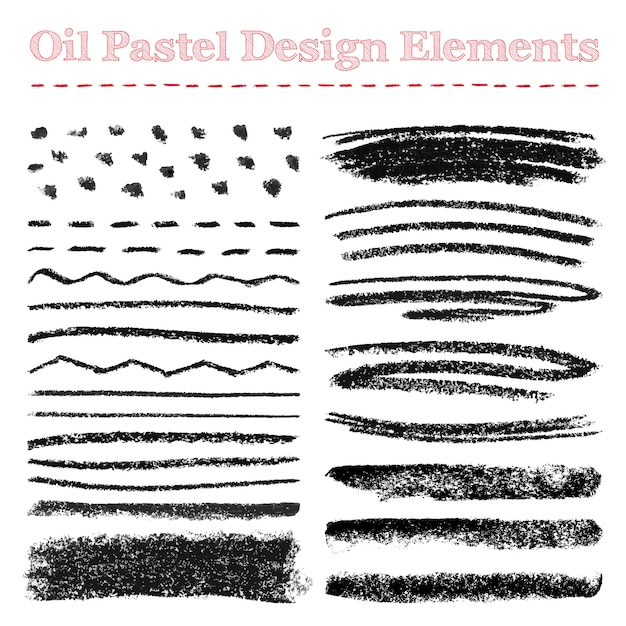 Série de coups de pinceau pastel à l'huile et d'éléments de conception Vecteur Premium