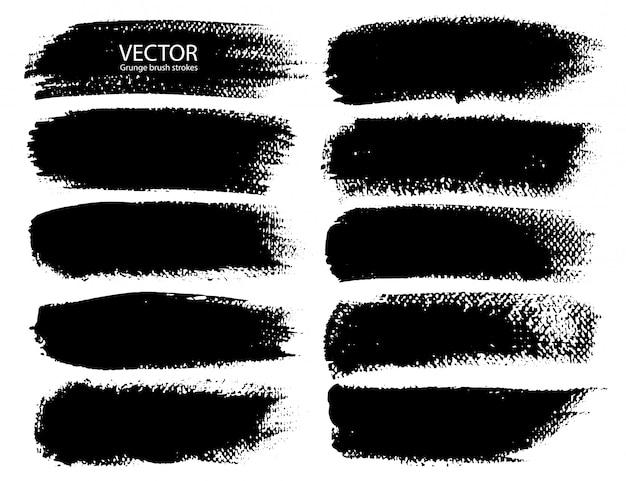 Série de coups de pinceau Vecteur Premium
