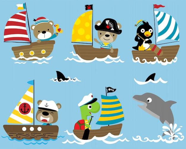 Série de dessin animé de marin sur un voilier avec un dauphin Vecteur Premium