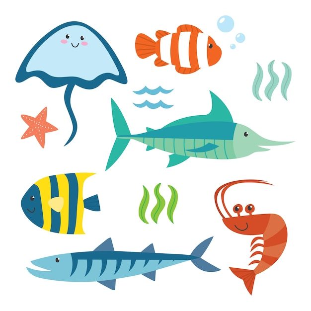 Série de dessin animé mignon animal océan set Vecteur Premium