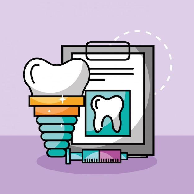Seringue d'implant de soins dentaires et rapport médical Vecteur Premium