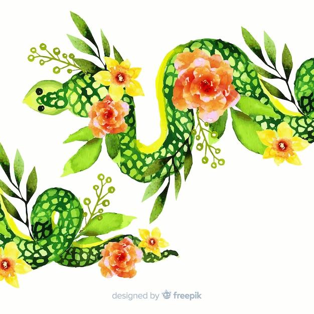 Serpent aquarelle avec illustration de fleurs Vecteur gratuit