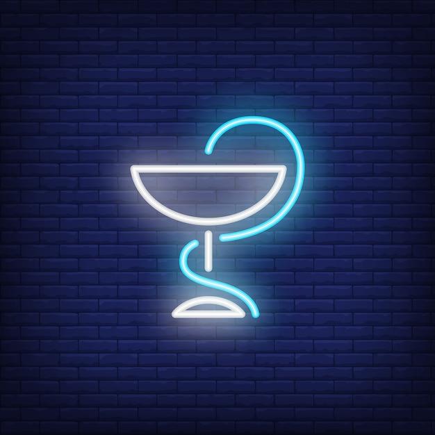 Serpent et bol symbole de pharmacie symbole au néon Vecteur gratuit