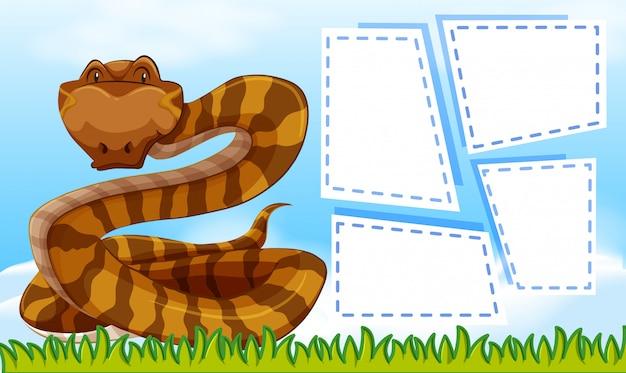 Un serpent sur des cadres de notes vierges Vecteur gratuit