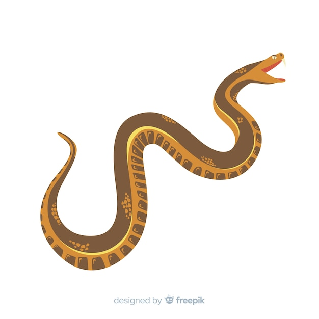 Serpent dessiné à la main attaquant fond Vecteur gratuit