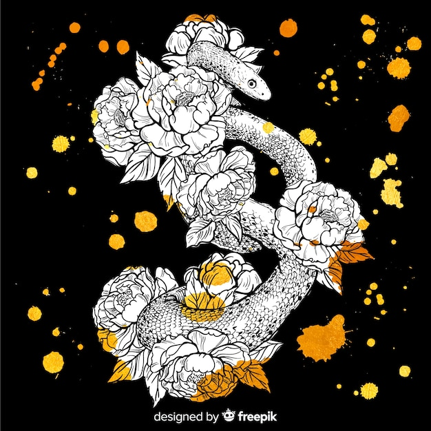 Serpent dessiné à la main avec des fleurs Vecteur gratuit