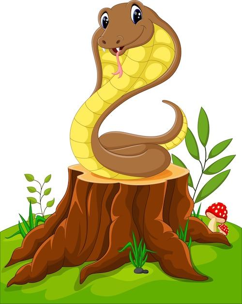Serpent drôle de dessin animé sur une souche d'arbre Vecteur Premium