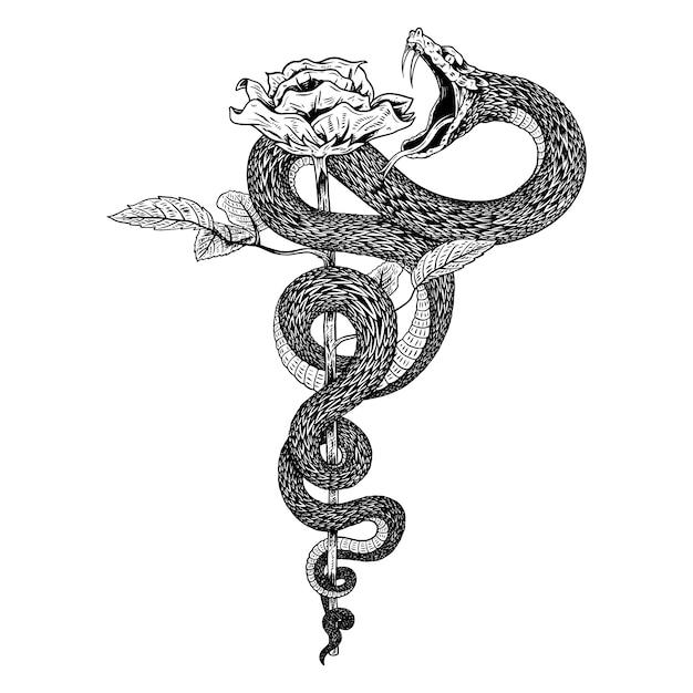 Serpent de fleurs Vecteur Premium