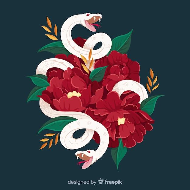 Serpent avec fond de fleurs Vecteur gratuit