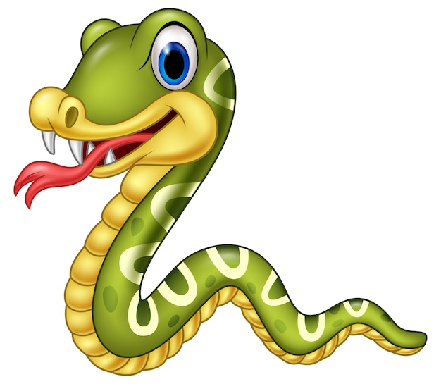 Serpent heureux cartoon isolé sur fond blanc Vecteur Premium
