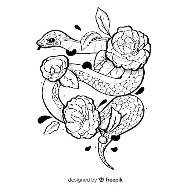Serpent avec illustration de fleurs Vecteur gratuit