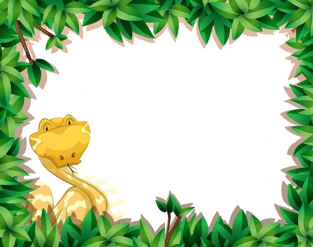 Serpent jaune dans une scène de nature avec fond encadré Vecteur gratuit