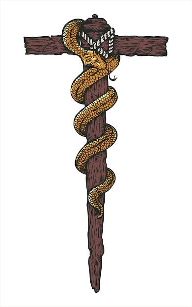 Serpent Serpent Bronze Illustration Vecteur Premium