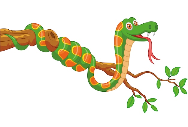 Serpent vert sur une branche Vecteur Premium