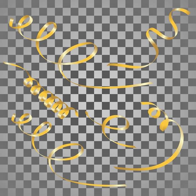 Serpentins d'or ensemble. Vecteur Premium