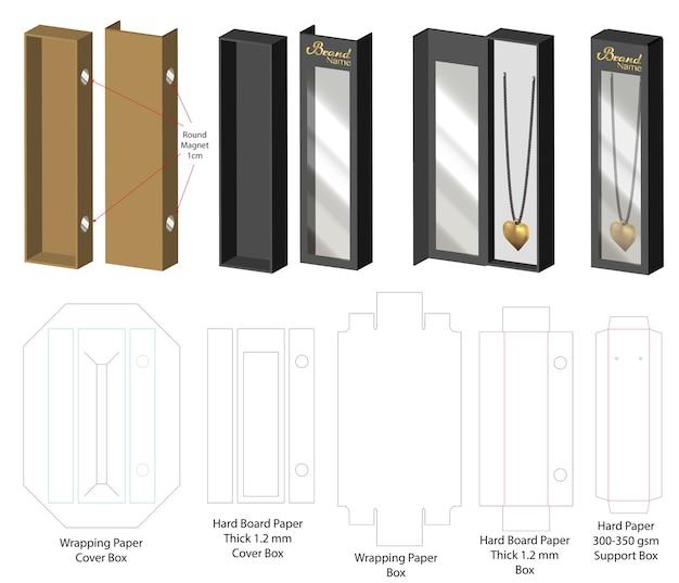 Serrure aimantée rigide pour collier avec dieline Vecteur Premium