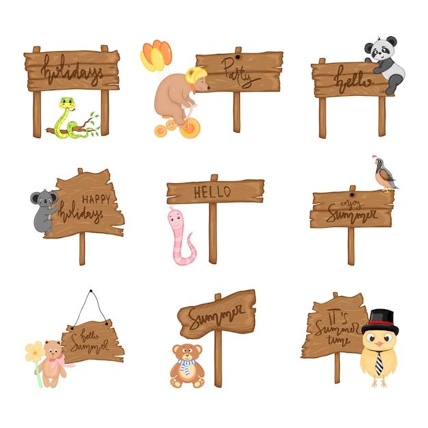 Sertie d'animaux mignons près d'une enseigne en bois avec les inscriptions sur le thème de l'été en vecteur. illustration de dessin animé Vecteur Premium