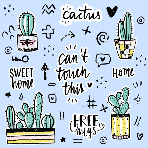 Sertie De Cactus, Phrases Positives, éléments. Vecteur Premium