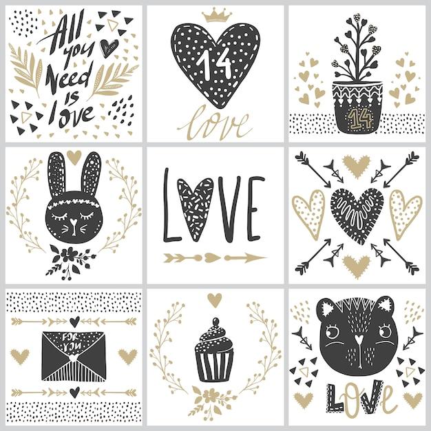 Sertie de cartes de vœux le jour de la saint-valentin. Vecteur Premium