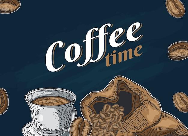 Sertie de différents types de café. illustration dessinée à la main Vecteur Premium