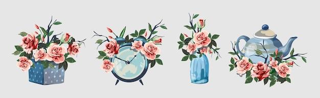 Sertie De Divers Articles Ménagers Décorés De Fleurs. Mignonnes Petites Images Romantiques Avec Des Fleurs. Réveil, Coffret Cadeau, Bouteille, Théière. Belles Roses Roses Isolées. Vecteur Premium