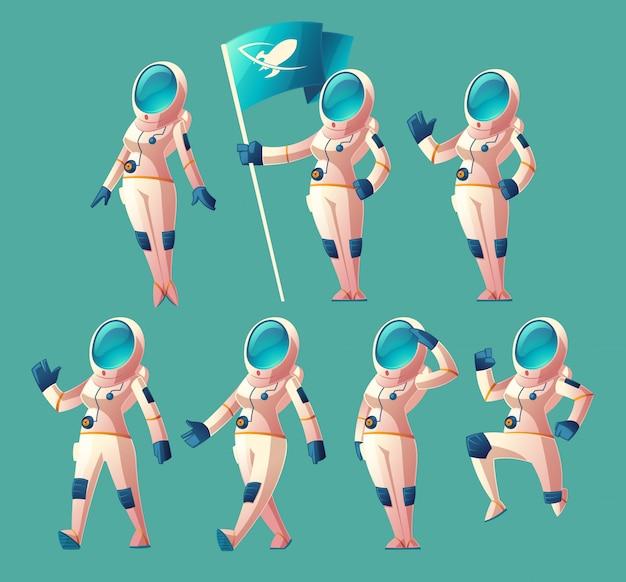 Sertie de fille d'astronaute de bande dessinée en combinaison spatiale et casque, dans différentes poses, tenant le drapeau Vecteur gratuit