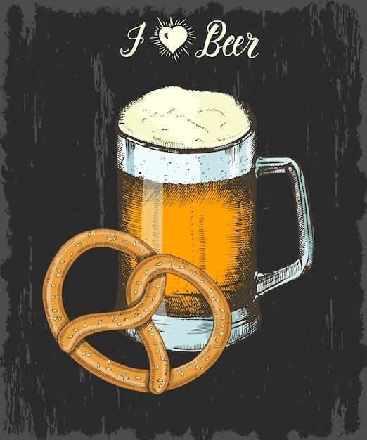 Sertie de gobelet de bière et de bretzel dessinés à la main. lettrage fait à la main. esquisser. objets oktoberfest Vecteur Premium