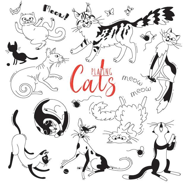 Sertie à jouer à des chats de différentes races. personnages chat dans le style du dessin animé doodle. Vecteur Premium
