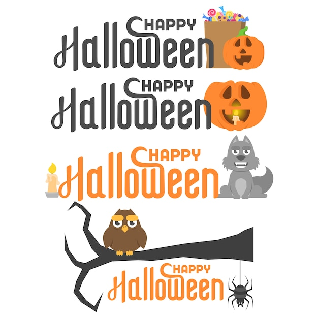 Sertie de joyeux lettrage d'halloween et de personnages différents Vecteur Premium