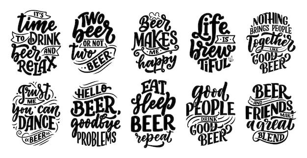 Sertie De Lettrages Sur La Bière Vecteur Premium