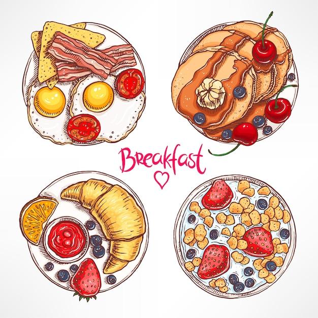 Sertie De Quatre Types De Petit-déjeuner Différents. Illustration Dessinée à La Main Vecteur Premium
