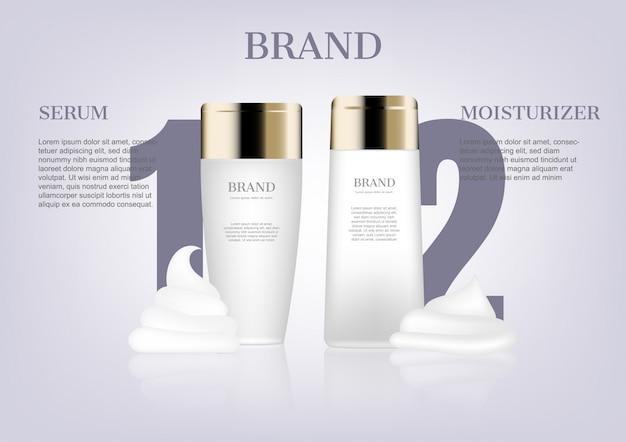 Sérum et crème hydratante Vecteur Premium
