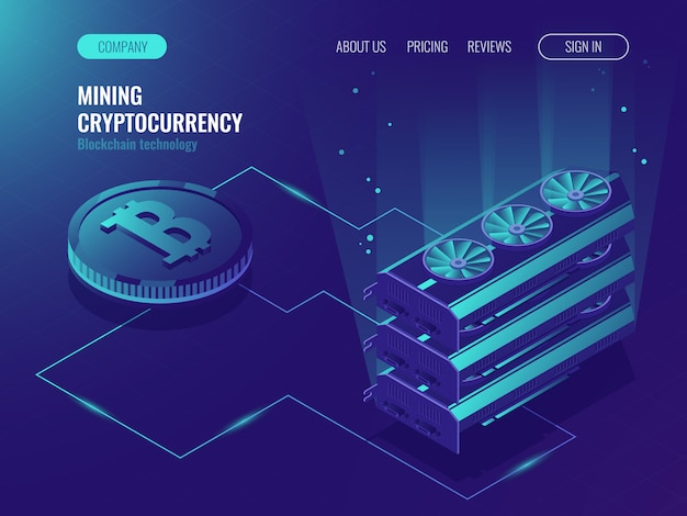 Serveur de ferme d'extraction de devises cryptographiques. blockchain isométrique, traitement de données volumineuses Vecteur gratuit