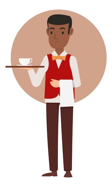 Des serveurs africains apportent le café à l'invité Vecteur Premium