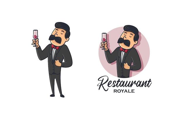 Serveurs Rétro Vin Et Restaurant Logo Vecteur Premium