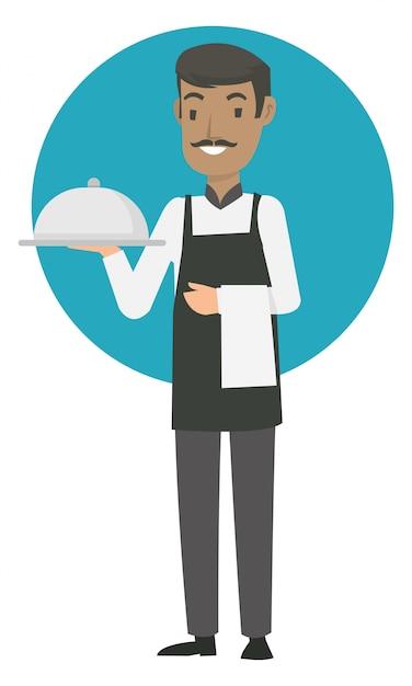 Les serveurs seniors apportent la meilleure nourriture au restaurant Vecteur Premium