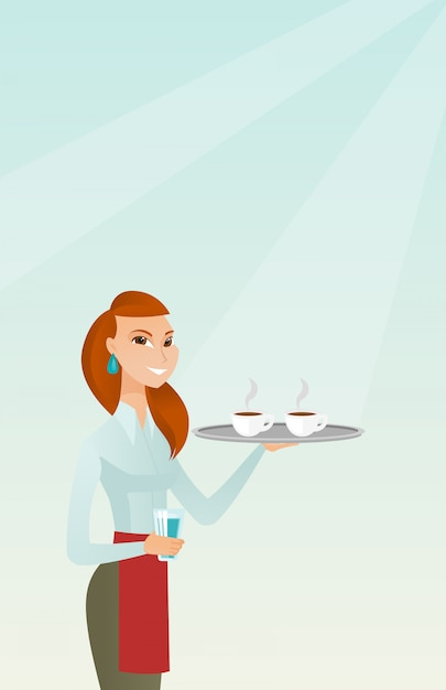 Serveuse tenant un plateau avec des tasses de café ou de thé. Vecteur Premium