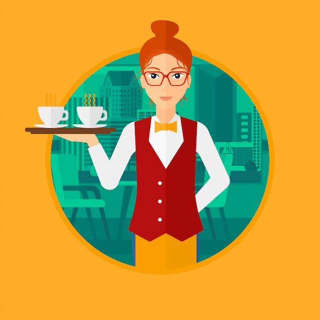 Serveuse tenant un plateau avec des tasses de café. Vecteur Premium