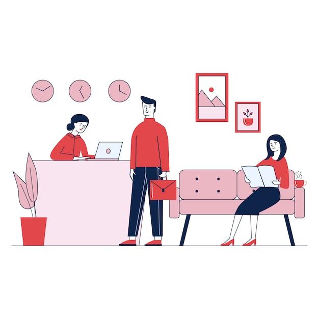 Service D'accueil De Bureau Assurant Le Client Par Concierge Vecteur gratuit